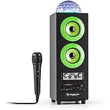 auna DiscoStar altoparlante portatile speaker wireless (Bluetooth, USB, SD, Jellyball LED con spettro cromatico RGB, microfono) - verde