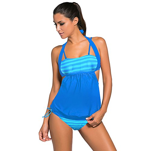 mode - bikini - streifen drucken nähte dreieck split badeanzug boln s blatic