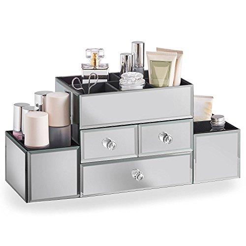 Beautify porta gioielli a specchio e organizer per make-up con 3 cassetti, 9 scomparti e rivestimento in, incluso panno per la pulizia specchio