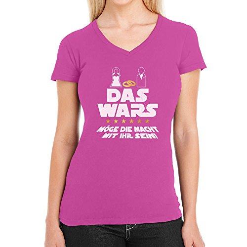 sellinnenabschied Party Das Wars mit Ihr Damen T-Shirt V-Ausschnitt X-Large Wow Rosa (Ideen Für Kostüme Party)