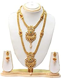 Swarajshop Copper Gold-Plated Green Maroon Haram Necklace Set with Earrings for Women's