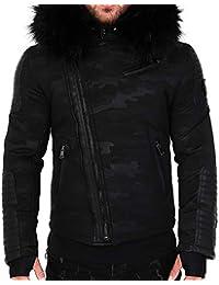 5d7166f6ff21 Veste Doudoune Homme Hiver Fury-3382 Bi-matière Noir - avec col Mega  Fourrure