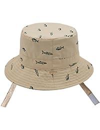 95d60f6df671 Chapeau de Soleil Anti-UV Bonnet Mixte en Coton Bébé Enfant Garçon Bob de  Plage Réglable à Corton pour…