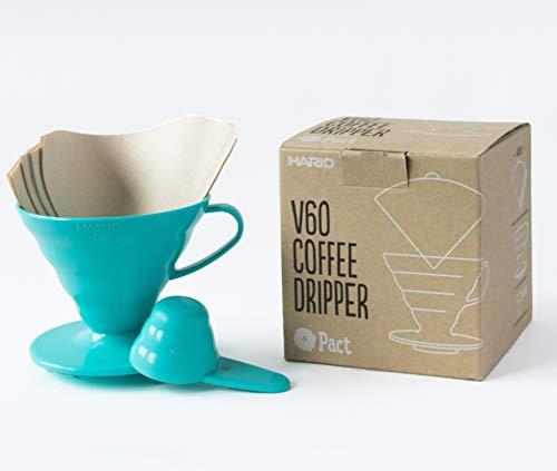 Hario V60 Teal Coffee Dripper Kit – Kunststoff V60 Größe 02, 40 ungebleichtes Filterpapier und Messlöffel