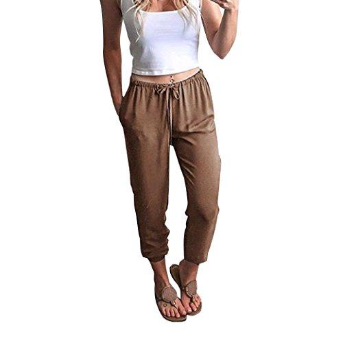 Hosen Damen,Frauen Stylische Iässige High Waist Dünne Bequeme Culottes Hosen  Leichte Sommerhose Elegante Stoffhose Coole Schicke Chino Hose Luftige  Lockere ... 149718e364