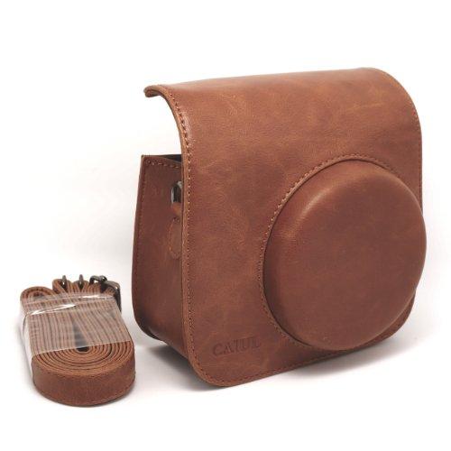 Film 8 Fuji Mini ([Fujifilm Instax Mini 8 Tasche] - CAIUL Umfassenden Schutz Kameratasche Schutzhülle mit Weichem PU Leder Material (Braun))