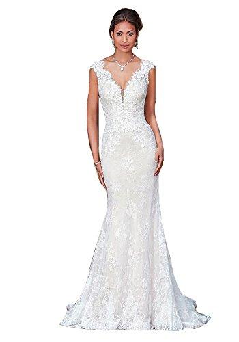 HotGirls Spitze V-Ausschnitt Ausschnitt natürliche Taille Meerjungfrau Hochzeitskleid (Weiß, 54)