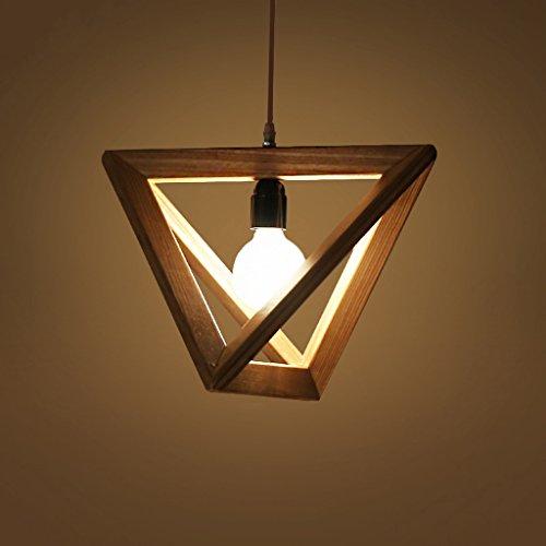 MEGSYL Dreieckige Leuchter des festen Holzes, kreative moderne unbedeutende nordische Deckenlampe, Wohnzimmerschlafzimmerrestaurant-Kunstleuchter - Medallion-deckenventilator