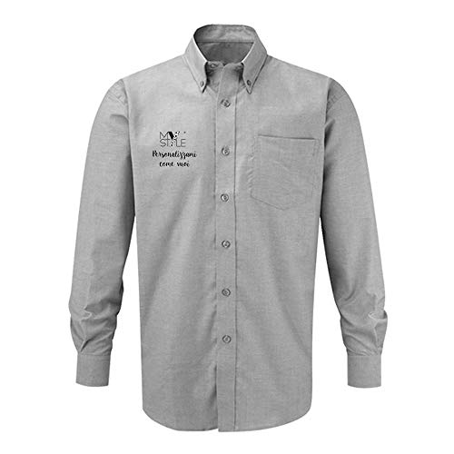 My Custom Style man Shirt Custom, Oxford, Long Sleeve, Grey. 2XL -