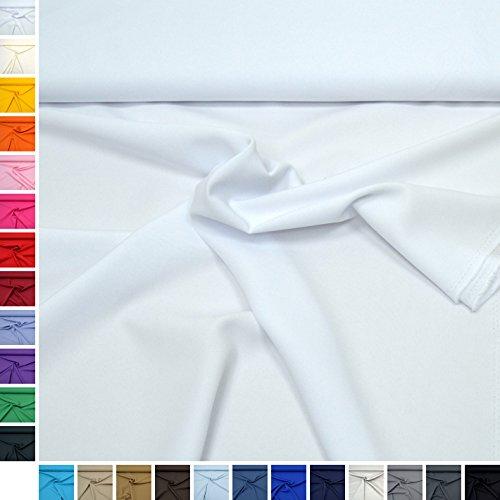 Allround-Stoff Mara Blickdicht und knitterarm, ideal für Kostüme, Tischdecken, Dekostoff/Meterware ab 50cm (01. Weiß.)