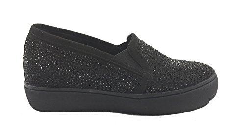 Scarpe donna casual pantofola zeppa interna camoscio NERO con brillantini 5592 (37, NERO)