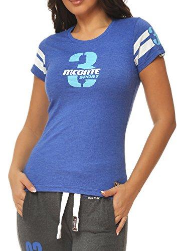M.Conte Sportliches Damen T-Shirt Fitness T Sweat-Shirt Kurzarm Blau Grau Lila S M L XL Lilly in Farbe Dunkelblau Größe L