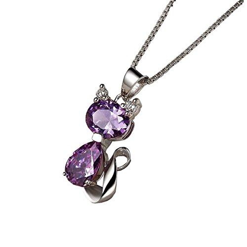 CYS Amethyst Cat Pendant Necklace  18