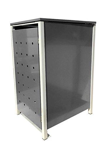 BBT@ | Hochwertige Mülltonnenbox für 1 Tonne mit 120 Liter mit Klappdeckel in Silber / Aus stabilem pulver-beschichtetem Metall / Stanzung 4 / In verschiedenen Farben sowie mit unterschiedlichen Blech-Stanzungen erhältlich / Mülltonnenverkleidung Müllboxen Müllcontainer - 2