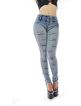 FARINA®1166 Pantalone vaquero de mujer, Push up/Levanta cola, pantalones elasticos colombian,color azul claro,...