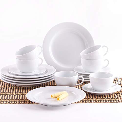 Pronto Kaffeeservice für 6 Personen weiß Kaffeeset 18-teilig Porzellan für Kaffee Kuchen Tee Frühstück Tasse Teller Untertasse ()