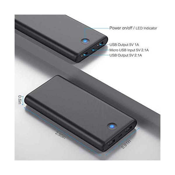 iPosible Power Bank,【Pulsanti Che Cambiano Colore-25800mAh】 Caricabatterie Portatile Batteria Esterna 2 Porte USB Uscita… 3 spesavip