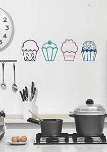 Decor Kafe 'Ice Cream Cup' Wall Sticker (Vinyl, 50 cm x 15 cm x 2.54 cm)