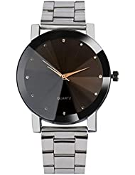 Reloje Hombre Mujer,Xinan Cristal de Acero Inoxidable Analógico Cuarzo Pulsera Reloj (Plata)