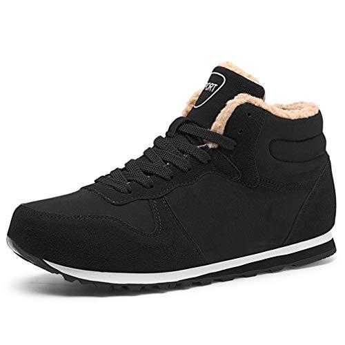 WETRICS Damen Herren Unisex Flach Stiefel Schneestiefel Sneaker Warm Gefütterte Schnürstiefel Schuhe Winterstiefel(schwarz,36