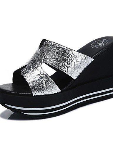 LFNLYX Scarpe Donna-Ciabatte-Ufficio e lavoro / Formale / Casual-Pantofole / Creepers-Plateau-Sintetico-Nero / Argento Silver