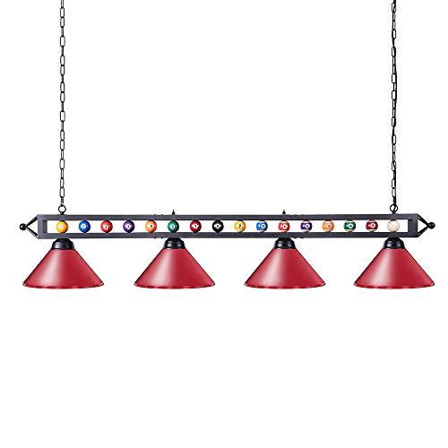 Wellmet Billard Lampe,Rot,4 Schirme,Ø 35.6 cm,180 cm,Billardlampe für Game Room 9ft, 10ft, 11ft Billardtisch
