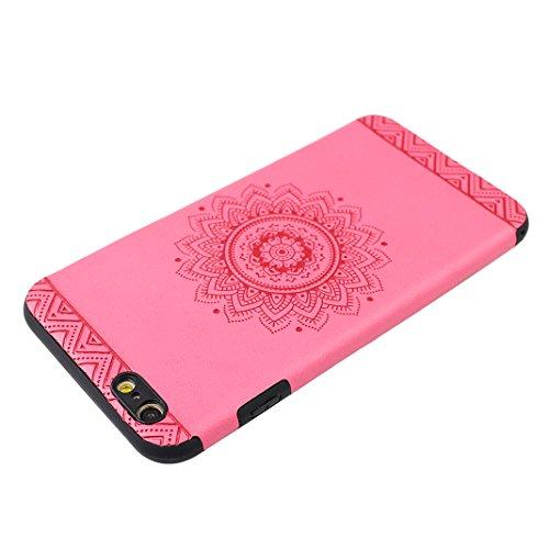"Coque iPhone 7,iPhone 7 Case, Rosa Schleife® Ultra Slim TPU Housse Doux et Flexible silicone Housse protection Cover antichoc Etui pour Apple iPhone 7 (4.7"") -Attrapeur de rêves Jaune Mandala Rouge"
