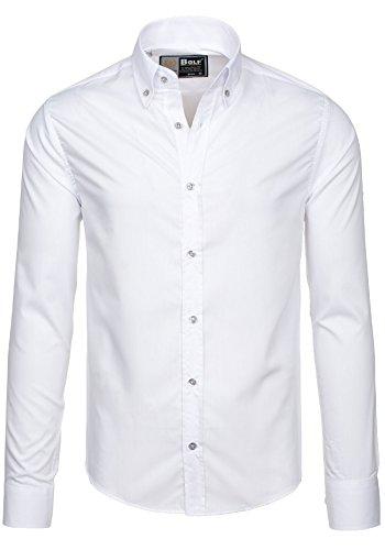 BOLF Herren Langarm Herrenhemd Figurbetont Freizeit Slim 5821 Weiß