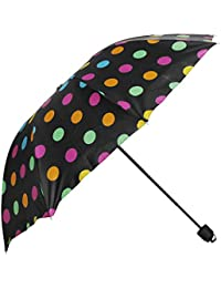 Umbrella Mart 3 Fold Digital Printed Rain & Sun Protective Umbrella (Black/Multi)