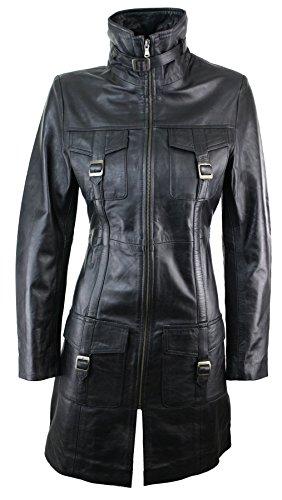 Aviatrix Damenjacke 100% Echtleder Schwarz Vintage Design Gewaschen Trench Mantel Vintage Trench