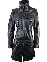 8f9e4098b9 Manteau Trench Femme Cuir Souple véritable Noir Style Vintage Vieilli