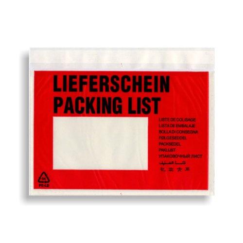 """Dokumententasche, Textaufdruck:"""" Lieferschein Packing List"""", selbstklebend, DINC6"""