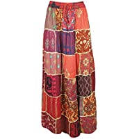 Women A-Line Skirt Red Vintage Printed Patchwork Rayon Flare Skirts S/M