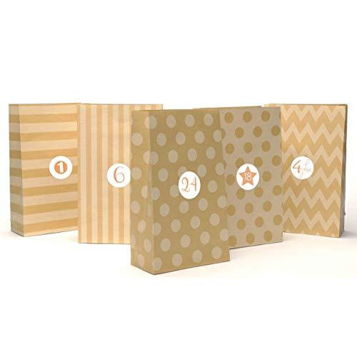 (24 Geschenktüten aus hochwertigem Kraftpapier mit schönem Muster inkl. Sticker   Vintage Papiertüten für Adventskalender zum Selber-machen für Kinder   Weihnachtstüten   Geschenk-taschen)
