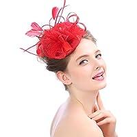 Lh$Yu Frauen Derby Hut Hochzeit Cap Blume Feder Alice Stirnband Fascinator Headwear Damen Race Royal Ascot Pillbox Cocktail