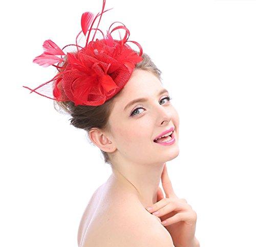 Hut Hochzeit Cap Blume Feder Alice Stirnband Fascinator Headwear Damen Rennen Royal Ascot Pillbox Cocktail Hohe Qualität,Red ()