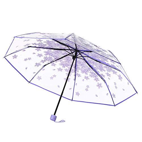 CAOLATOR Regenschirm Damen Taschenschirme Durchsichtig Schirm Kirschblüte Stockschirm Sonnenschirm Klappschirme 8 verstärkten Rippen Klein, Leicht Kompakt für Winddicht, Regenschutz, Schatten (Lila)