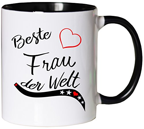 Mister Merchandise Kaffeebecher Tasse Beste Frau der Welt Ehefrau Heirat Ehe Danke Teetasse Becher Weiß-Schwarz