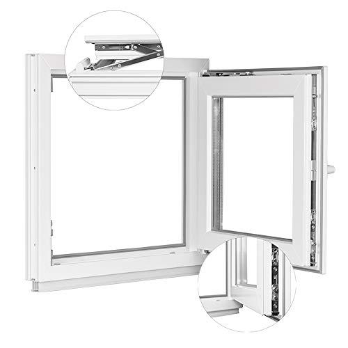 Fenster Kellerfenster Kunststofffenster Breite: 40 cm - BxH: 40x50 cm DIN Rechts - 2 fach Verglasung Alle Größen Dreh Kipp Weiß - Premium