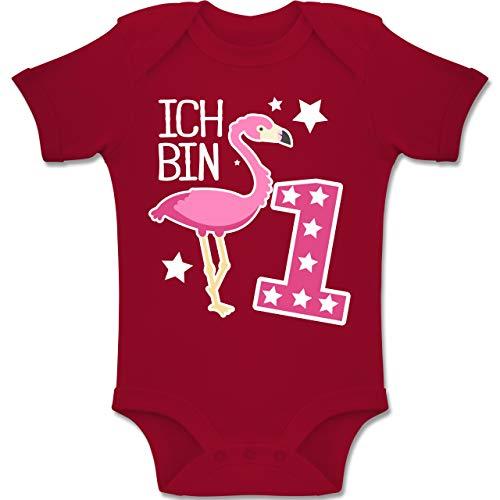 Shirtracer Geburtstag Baby - Ich Bin 1 Flamingo - 12-18 Monate - Rot - BZ10 - Baby Body Kurzarm Jungen Mädchen