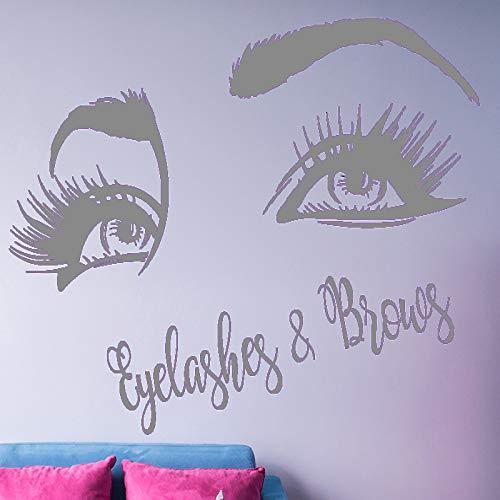 impernverlängerung Vinyl Wandaufkleber Schönheitssalon Dekor für Wandfenster Dekoration Mädchen Schlafzimmer grau 64x42 cm ()