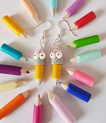 cadeau ecole,boucles d'oreilles crayon de couleur,rigolo,jaune,gomme rose,cadeau maitresse