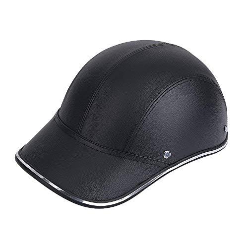 Mützen Herren Motorrad Bike Half Open Face Helm Classic Schutzhelm Sicherheit Helm Kopfbedeckung (Blau) Caps Kleidung (Color : Swarchz, Size : One Size)