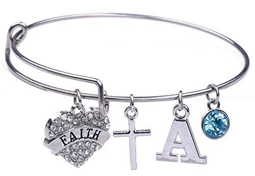 Edelstahl FAITH christliche Kreuz, Geburtsstein Charme Armreif Armband Schmuck DIY Bastelset für Mädchen