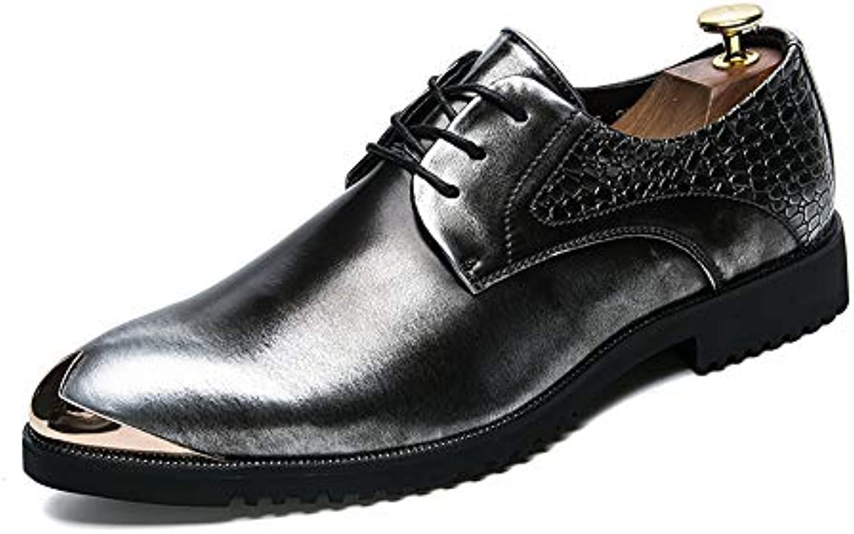 Xiaojuan-shoes, Retro Men's Oxford Casual Business Fashion Personality Retro Xiaojuan-shoes, Brush Color Anti-collision Metal Toe Patent... 180a36