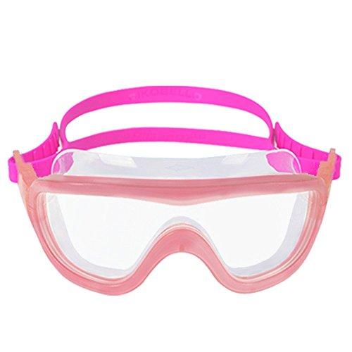 Dalu mit Brille, Kinder mit schutzbrille, Kleine, Mittlere und Große Kinder, Tauchen, Schwimmen, Großes Bild, Wasserdicht, Anti - Fog und HDTV,m Rosa 7-14 Jahre -