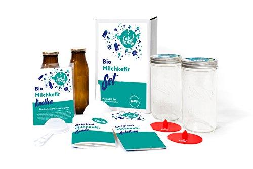Original Milch Kefir Set mit vitalen Bio Kefirknollen für bis zu 1 L Milchkefir pro Tag mit...