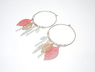 Boucles d'oreilles créoles rose argenté gris or rose gold feuilles plumes perles verre de Bohême mariage cérémonie romantique bohème