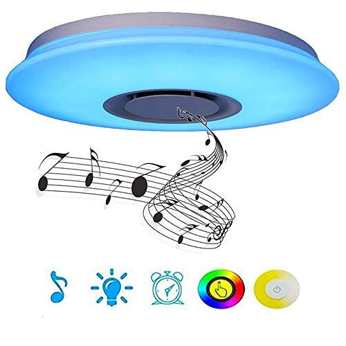 HHCC LED Bluetooth Ceiling Lichtwerfer 24W Music Modern Ceiling Lampe [Smartphone APP] RGB Color Changing Decorative Mood Night Light for Family Party Geburtstags-Weihnachtsbeleuchtung
