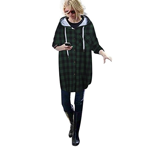 Veste femme automne et en hiver, Reaso Loisirs New à capuche Plaid Cardigan Jacket Vert